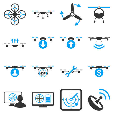 coordinate: Quadcopter service icon set designed with blue and gray colors. These flat bicolor pictograms are isolated on a white background.