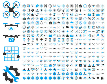 365 air drone and quadcopter tool icons. Icon set style is flat vector bicolor images, blue and gray symbols, isolated on a white background.