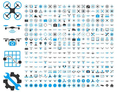 365 Flugdrohne und quadcopter Werkzeug-Icons. Icon-Set-Stil ist flach Vektor bicolor Bilder, blau und grau-Symbole, isoliert auf einem weißen Hintergrund. Standard-Bild - 42217721