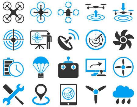 空気の無人機と quadcopter ツールのアイコン。アイコン設定のスタイルはフラット ベクトル二色画像、青と灰色のシンボル、白い背景で隔離。
