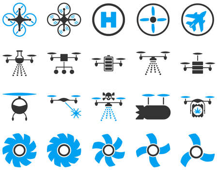 airflight: Air drone and quadcopter tool icons. Icon set style is flat vector bicolor images, blue and gray symbols, isolated on a white background.