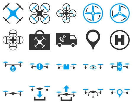 office automation: Air drone and quadcopter tool icons. Icon set style is flat vector bicolor images, blue and gray symbols, isolated on a white background.