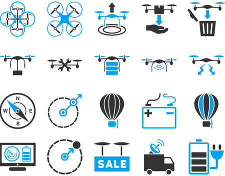Air drone and quadcopter tool icons. Icon set style is flat vector bicolor images, blue and gray symbols, isolated on a white background. Imagens - 42217730