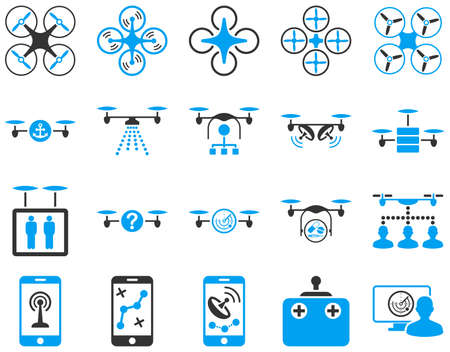 Air drone and quadcopter tool icons. Icon set style is flat vector bicolor images, blue and gray symbols, isolated on a white background.