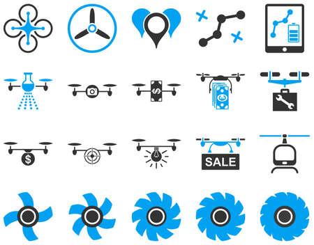 Con aviones no tripulados de aire y herramientas Quadcopter iconos. Conjunto estilo del icono es imágenes planas vector bicolor, símbolos azules y grises, aislado en un fondo blanco. Ilustración de vector