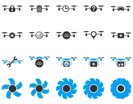 medical ventilator: Air drone and quadcopter tool icons. Icon set style is flat vector bicolor images, blue and gray symbols, isolated on a white background.