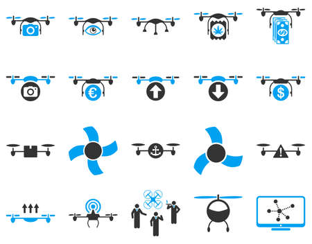 pc screen: Air drone and quadcopter tool icons. Icon set style is flat vector bicolor images, blue and gray symbols, isolated on a white background.