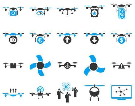 bugs shopping: Con aviones no tripulados de aire y herramientas Quadcopter iconos. Conjunto estilo del icono es im�genes planas vector bicolor, s�mbolos azules y grises, aislado en un fondo blanco.