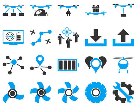 subsidiary company: Air drone and quadcopter tool icons. Icon set style is flat vector bicolor images, blue and gray symbols, isolated on a white background.