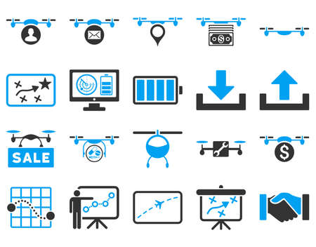 take charge: Air drone and quadcopter tool icons. Icon set style is flat vector bicolor images, blue and gray symbols, isolated on a white background.