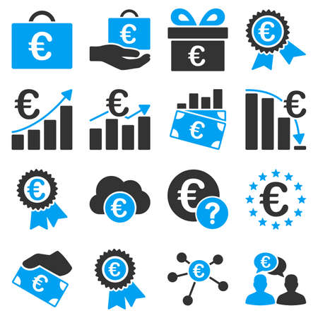 warranty questions: Euro banking business and service tools icons. These flat bicolor icons use blue and gray colors. Images are isolated on a white background. Angles are rounded.