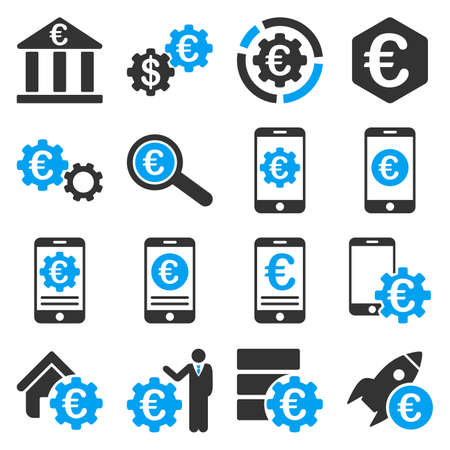 capitalist: Euro banking business and service tools icons. These flat bicolor icons use blue and gray colors. Images are isolated on a white background. Angles are rounded.
