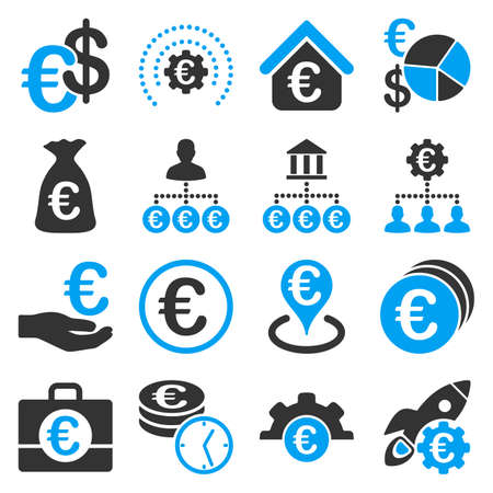 money cosmos: Euro banking business and service tools icons. These flat bicolor icons use blue and gray colors. Images are isolated on a white background. Angles are rounded.