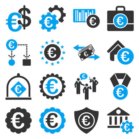 real trophy: Euro banking business and service tools icons. These flat bicolor icons use blue and gray colors. Images are isolated on a white background. Angles are rounded.