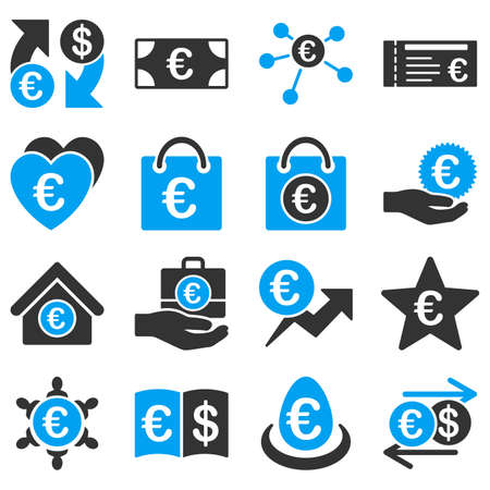 refresh rate: Euro banking business and service tools icons. These flat bicolor icons use blue and gray colors. Images are isolated on a white background. Angles are rounded.