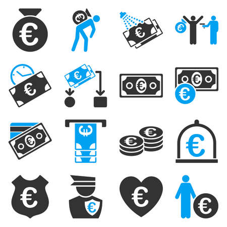 Euro banking business and service tools icons. These flat bicolor icons use blue and gray colors. Images are isolated on a white background. Angles are rounded.