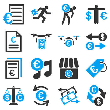 judge players: Euro banking business and service tools icons. These flat bicolor icons use blue and gray colors. Images are isolated on a white background. Angles are rounded.