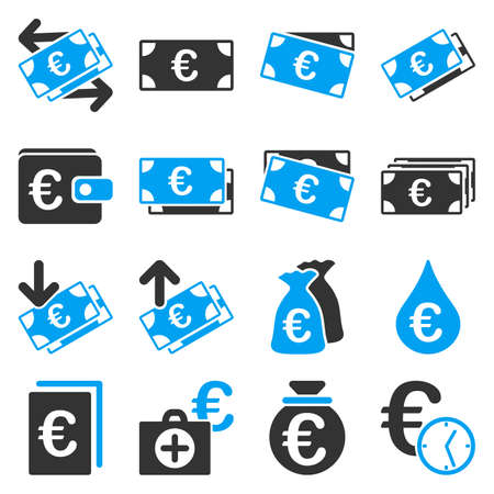 financial emergency: Euro banking business and service tools icons. These flat bicolor icons use blue and gray colors. Images are isolated on a white background. Angles are rounded.