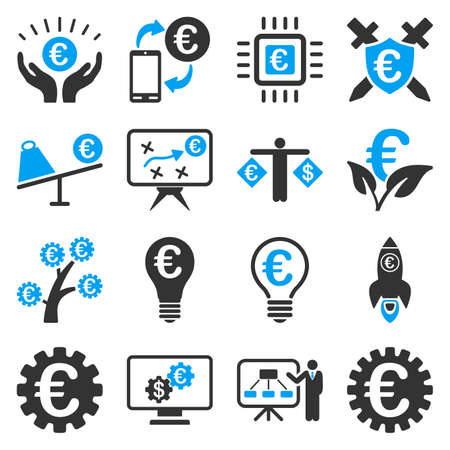 car care center: Euro banking business and service tools icons. These flat bicolor icons use blue and gray colors. Images are isolated on a white background. Angles are rounded.