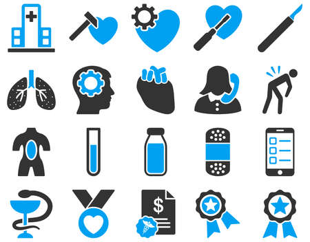 fart: Medical icon set. These flat bicolor icons are drawn with blue and gray colors on a white background.