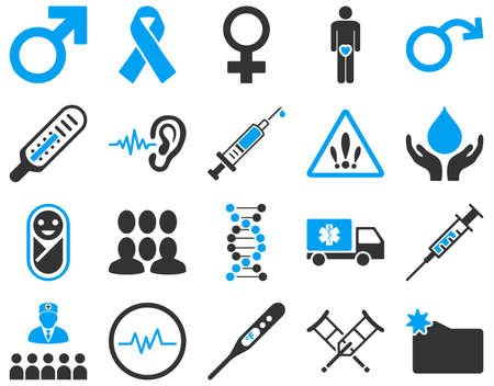 ear drop: Medical icon set. These flat bicolor icons are drawn with blue and gray colors on a white background.