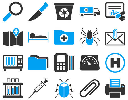 sterilization: Medical icon set. These flat bicolor icons are drawn with blue and gray colors on a white background.