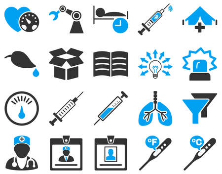 blood pressure bulb: Medical icon set. These flat bicolor icons are drawn with blue and gray colors on a white background.