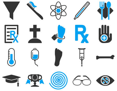 lens brush: Medical icon set. These flat bicolor icons are drawn with blue and gray colors on a white background.