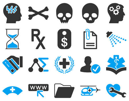medic: Medical icon set. These flat bicolor icons are drawn with blue and gray colors on a white background.
