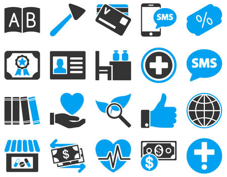 directory book: Medical icon set. These flat bicolor icons are drawn with blue and gray colors on a white background.