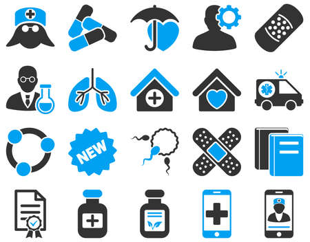 brothel: Medical icon set. These flat bicolor icons are drawn with blue and gray colors on a white background.