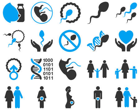 spermatozoon: Medical icon set. These flat bicolor icons are drawn with blue and gray colors on a white background.