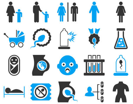 penetration: Medical icon set. These flat bicolor icons are drawn with blue and gray colors on a white background.