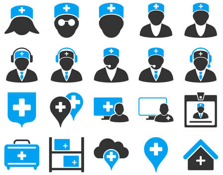 Medical icon set. These flat bicolor icons are drawn with blue and gray colors on a white background.