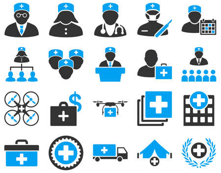 schedule system: Medical icon set. These flat bicolor icons are drawn with blue and gray colors on a white background.