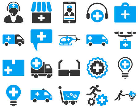 emergency cart: Medical icon set. These flat bicolor icons are drawn with blue and gray colors on a white background.