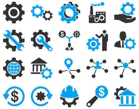 office automation: Settings and Tools Icons. Vector set style is bicolor flat images, blue and gray colors, isolated on a white background. Illustration