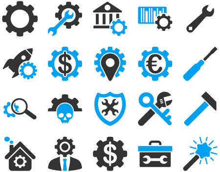 cash register building: Settings and Tools Icons. Vector set style is bicolor flat images, blue and gray colors, isolated on a white background. Illustration