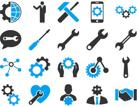 hardware configuration: Settings and Tools Icons. Vector set style is bicolor flat images, blue and gray colors, isolated on a white background. Illustration