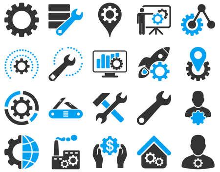 Configurações e ferramentas ícones. O estilo ajustado do vetor é imagens lisas bicolores, cores azuis e cinzentas, isoladas em um fundo branco. Ilustración de vector