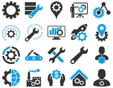 herramientas de trabajo: Configuración y Herramientas Iconos. Vector conjunto de estilo es imágenes planas bicolor, colores azul y gris, aislado en un fondo blanco.