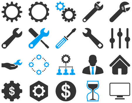 Settings and Tools Icons. Vector set style is bicolor flat images, blue and gray colors, isolated on a white background. Ilustração