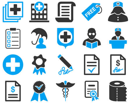 medical bills: Medical icon set. These flat bicolor icons are drawn with blue and gray colors on a white background.