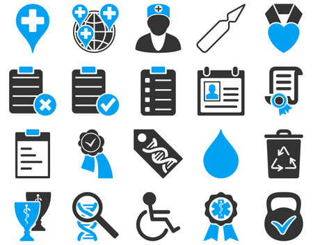 first form: Medical icon set. These flat bicolor icons are drawn with blue and gray colors on a white background.