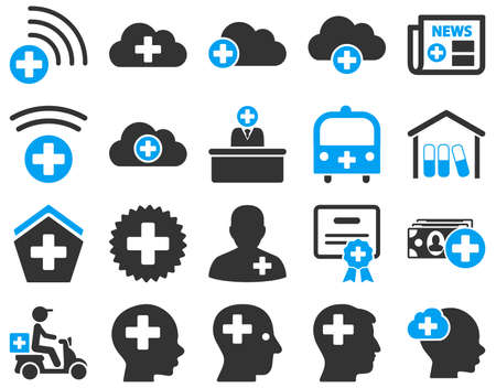 attest: Medical icon set. These flat bicolor icons are drawn with blue and gray colors on a white background.