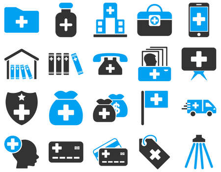 medical shower: Medical icon set. These flat bicolor icons are drawn with blue and gray colors on a white background.