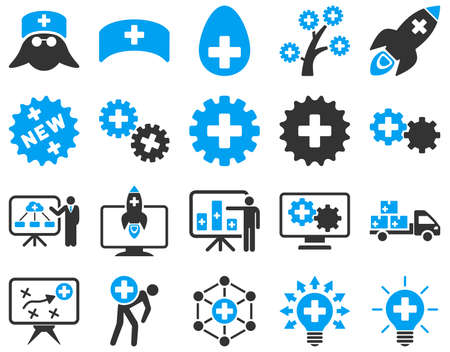 medical distribution: Medical icon set. These flat bicolor icons are drawn with blue and gray colors on a white background.