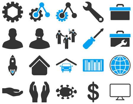 voiture de pompiers: Paramètres et outils icônes. Vector set style est bicolor images plates, les couleurs bleu et gris, isolé sur un fond blanc.