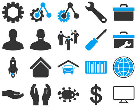 garage on house: Settings and Tools Icons. Vector set style is bicolor flat images, blue and gray colors, isolated on a white background. Illustration