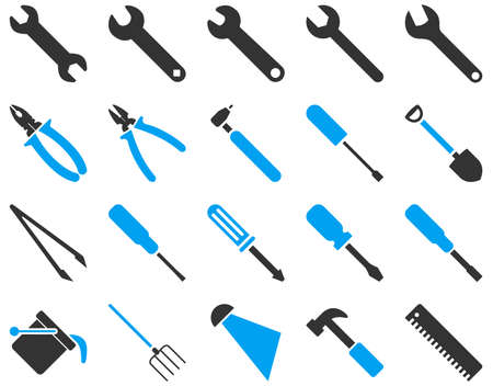 bucket and spade: Equipment and Tools Icons. Vector set style is bicolor flat images, blue and gray colors, isolated on a white background.